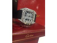 Cartier Santos 100 Fully Iced Out Diamond Watch With Box Papers Tags