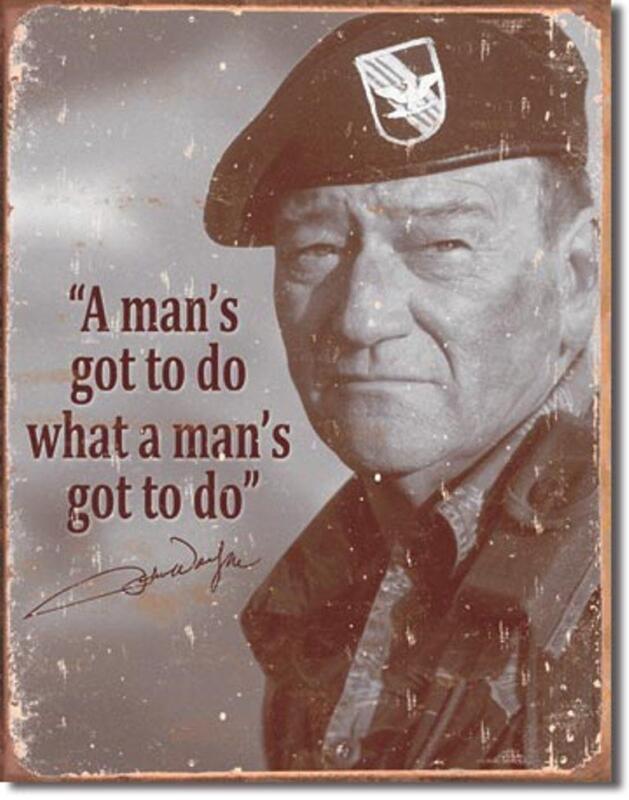 John Wayne Green Beret Military Movie Memorabilia Tin Metal Sign Made In The USA