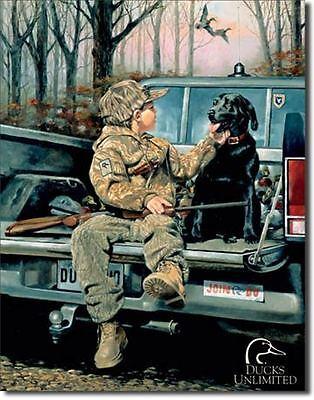 Ducks Unlimited Black Lab Labrador Forever Friends Hunting Tin Metal Sign