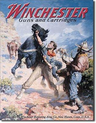 Winchester Guns & Cartridges Spooked Horses Elk Hunting Nostalgic Tin Metal Sign