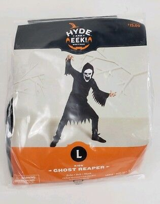 Halloween Ghost Reaper Black Size Kids Large 12-14 3pc Robe Mask Belt Boys