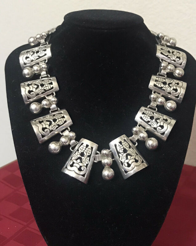 Vintage TAXCO 950 Sterling Silver Mexico Necklace Heavy Link Panel TP-110