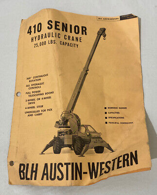 Blh Austin Western 410 Hydraulic Crane Capacity Working Specifications Booklet