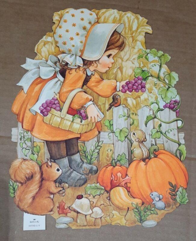 Vtg 1980s  Hallmark Pumpkin Thanksgiving Decoration Die Cut Fall Harvest Scene