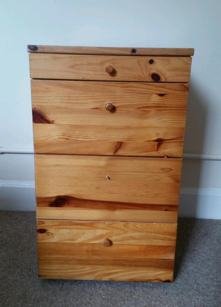 Solid pine small set of drawersin Reigate, SurreyGumtree - Solid pine small set of drawers. Missing middle knob & marked but in reasonably good condition for age. On rollers so easy to move and drawers open & close perfectly.H86cm D 41cm W 40cm