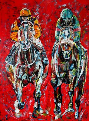 Rachel Alexandra Zenyatta HOF horse racing art original oil painting