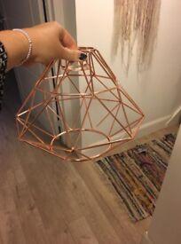 Copper geometric pendant light