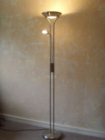 Brushed Chrome Floor Standing Dimmable Lamp 180cm