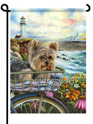 - YORKIE painting GARDEN FLAG Yorkshire Terrier puppy basket LIGHT HOUSE Dog ART