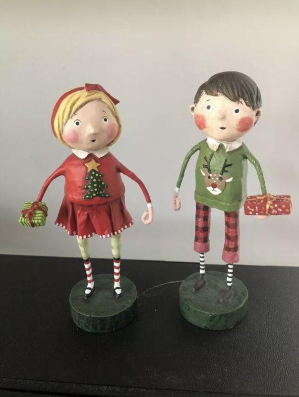 Lori Mitchell Figurine GIFT EXCHANGE BOY & GIRL SET ***NEW***
