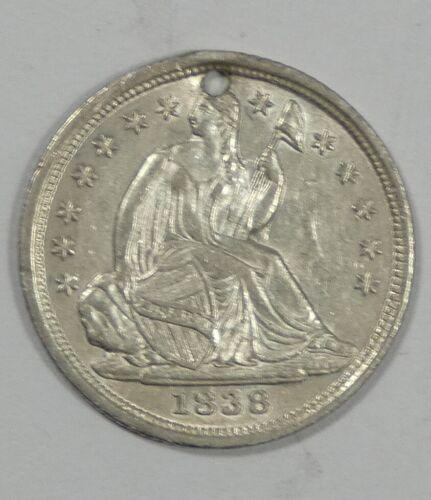 BARGAIN 1838 NO Drapery SMALL Stars Silver Liberty Seated Half Dime ALMOST UNC