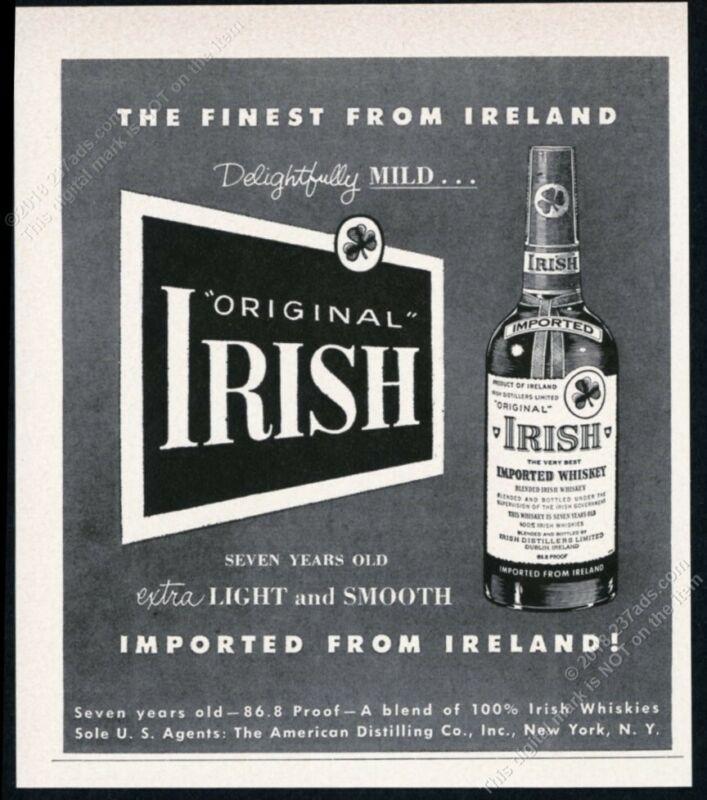 1956 Original Irish Whiskey bottle art vintage print ad