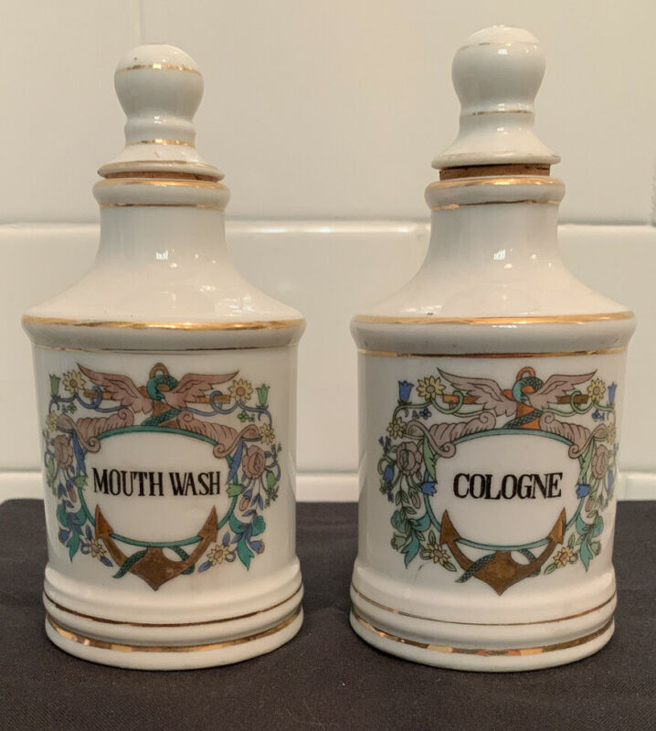 Antique Vintage China Porcelain Apothecary Jar Bottle ANCHOR Cologne Mouth Wash