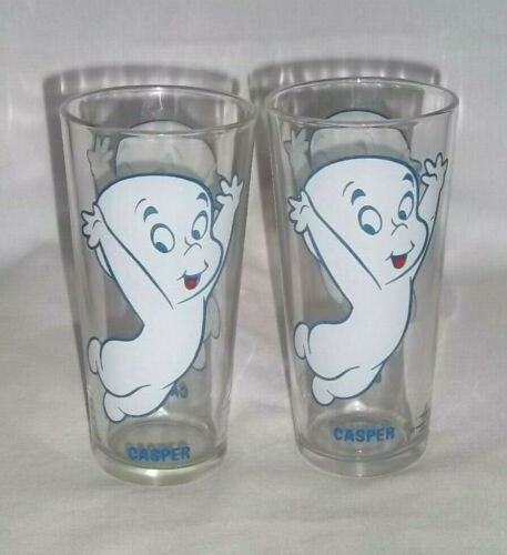 2 CASPER The Friendly Ghost GLASS Pepsi Collector Series 1973 Warner Bros Harvey