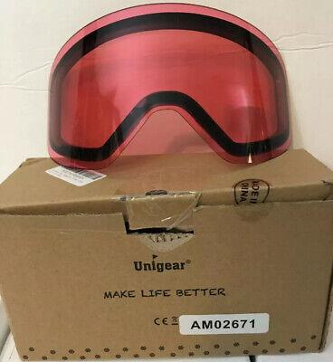 Unigear Spherical OTG Ski Goggles Anti-fog UV400 Magnetically Attached Lens Pink