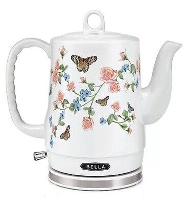 BELLA Electric Ceramic Tea Kettle with detachable base-WHITE FLORAL BUTTERFLIES