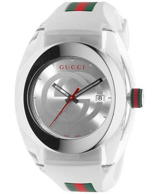 New Gucci YA137102 Sync XXL White Rubber Band White Dial Unisex (Silver Gucci)