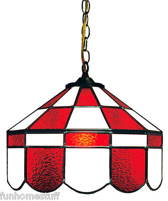 Red & White 14 Inch Stained Glass Executive Swag Home Bar Hanging Lamp Pub Light