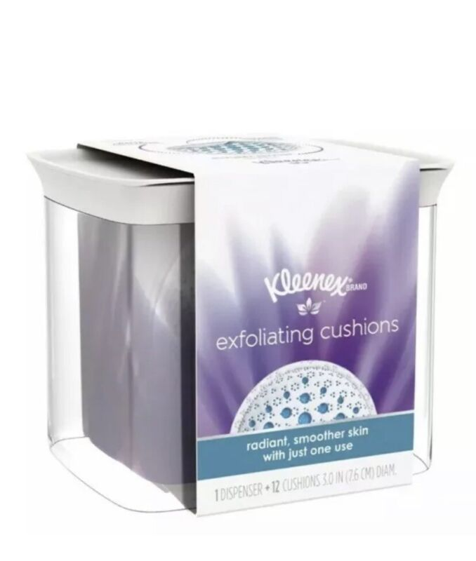 Kleenex Exfoliating Cushions, Refillable Dispenser & Pads, 12 Count NEW