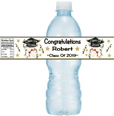 12 Graduation Party Water Bottle Stickers Congratulations Class Of 2019 Diploma](Class Party)
