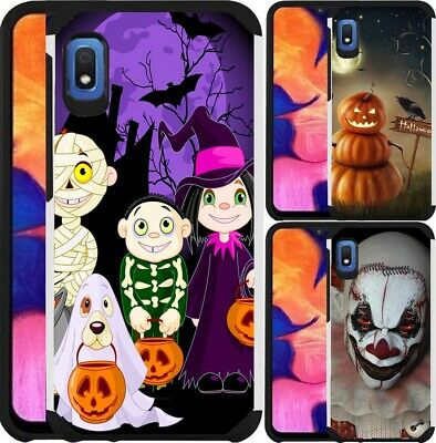 Scary Pumpkins For Halloween (For Motorola Moto E6 Case Hybrid Phone Cover Pumpkin Scary Clown)