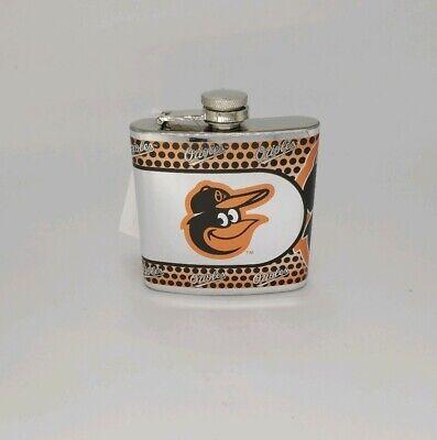 MLB 6 oz Baltimore Orioles Stainless Steel Flask in Black/Orange New Baseball 6 Ounce Flask