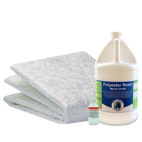 "Fiberglass Repair Kit 1 Gallon of Polyester Resin .75x38"" Wide x 5 Yards - 15ft"