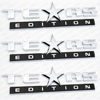 3x Chrome TEXAS Edition Emblem Badge Stickers For Chevrolet Dodge GMC Decoration