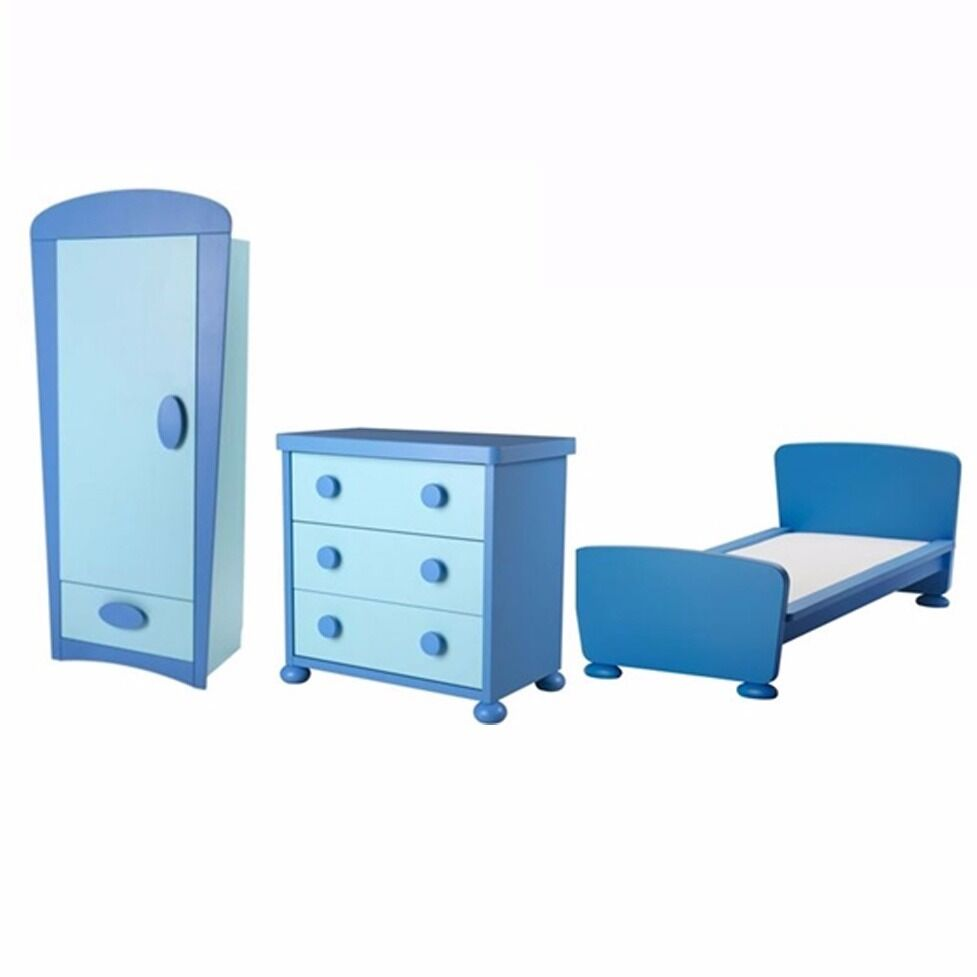 Ikea Mammut Blue Boys Childrens Bedroom Furniture Set Bed Wardrobe Chest Of