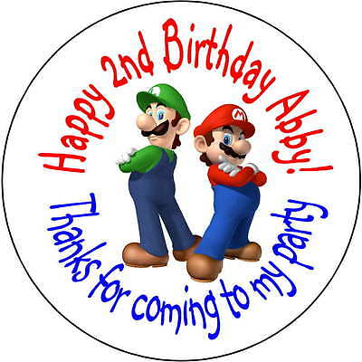 48 Super Mario Brothers stickers Birthday Party 1.67 Inch Personalized (Super Mario Brothers Stickers)