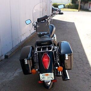 Large Black Hard Saddle bag Saddlebag For Honda Shadow ACE Aero Spirit VLX TX LW