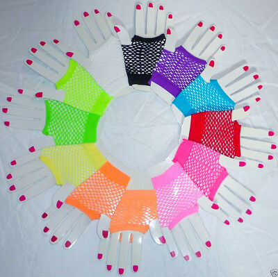 Netzhandschuhe Fingerlose Handschuhe Fischnetz Fasching Karneval Neon 12 Farben  ()