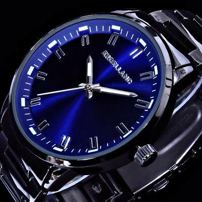 Excellanc Herren Armband Uhr Schwarz Blau im Keramik Look