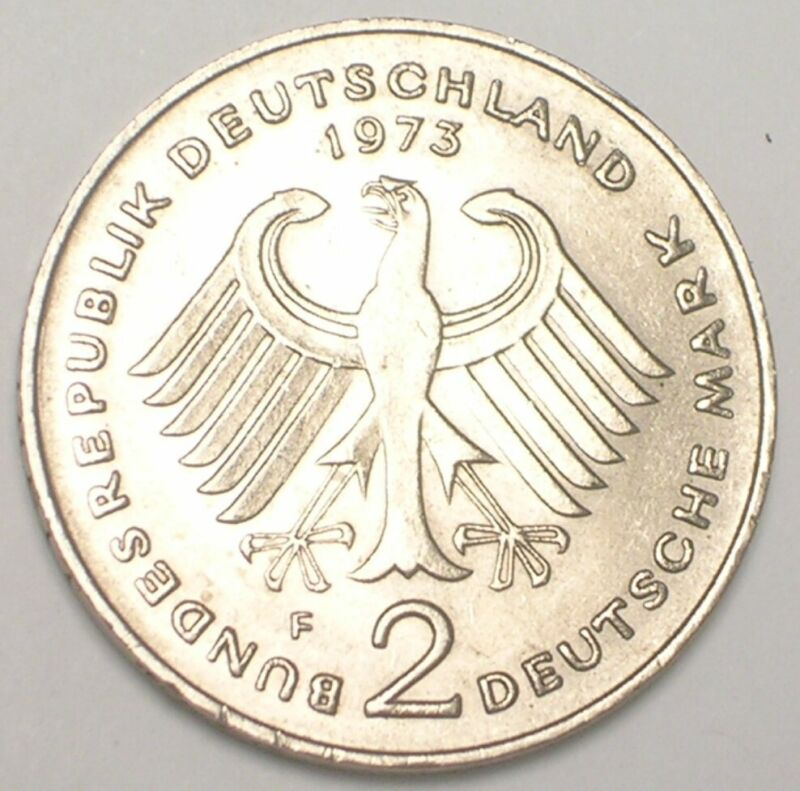 1973 F German Federal Republic 2 Mark Adenauer Coin XF+