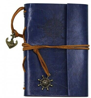 AKORD Vintage Retro Leather Cover Journal Jotter Diary Notebook - Blue