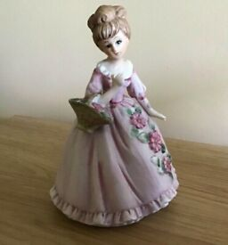 Rare 1960's ornament, lady in pink dress with flowers