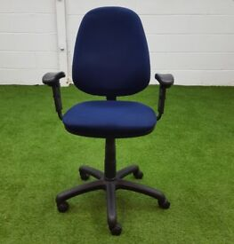 Blue fabric operators chair with arms cheap