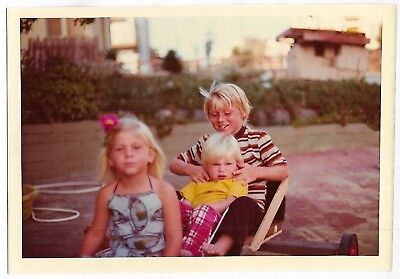 Vintage 70s PHOTO Little Blond Girl & Boys Siblings? Sister & Brothers
