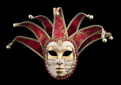Mask from Venice Volto Jolly Red and Golden 7 Spikes Symphony 284 VG4