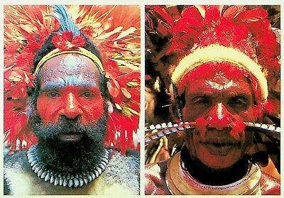 PAPUA NEW GUINEA FACIAL DECORATION HEAD DRESS A/M PPC W/ 2v TO GERMANY