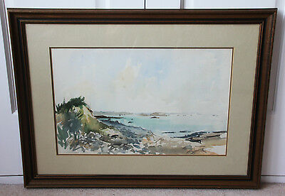Large original signed watercolour by Stuart Atkinson 'View of Herm Island' 1978