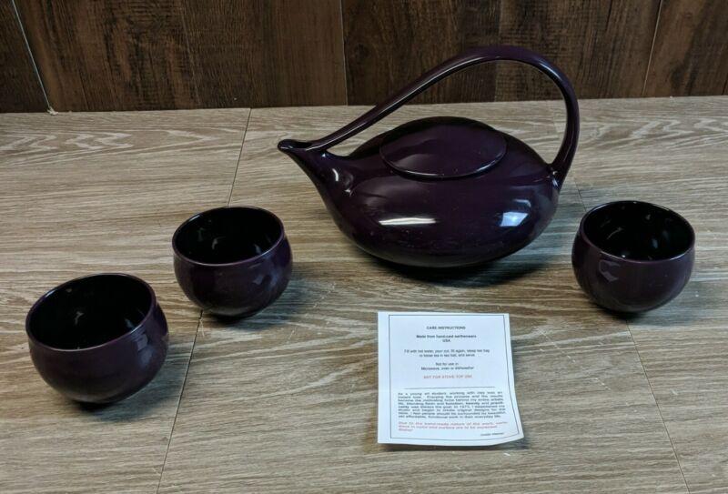 Teapot Set Handmade Purple w/ 3 Cups Judith Weber Ceramic Signed
