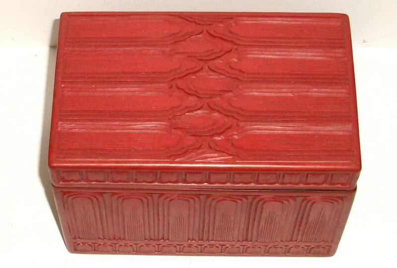 THE PEOPLE REPUBLIC OF CHINA LARGE VINTAGE CINNABAR CARVED LACQUER TRUNK BOX