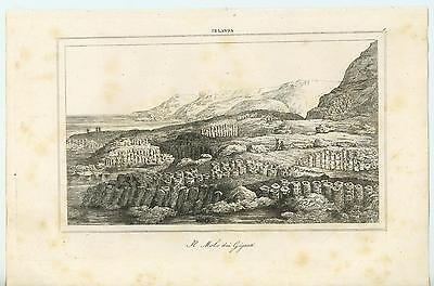 Antique Giants Causeway Ireland Basalt Columns From Volcano Eruption Old Print