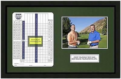 10x16 Black Golf Scorecard Photo Frame, blk-001, Green Mat; Fits appr 6x8V card