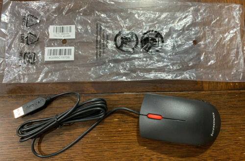 Lenovo 45J4889 USB 2-Button Optical Mouse Black & Red Scroll