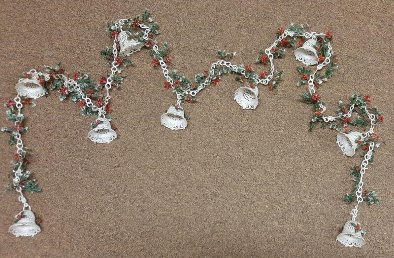 "Vtg 8 ft  Plastic Christmas Garland Bells Chain Holly and Berries Glitter 96"""