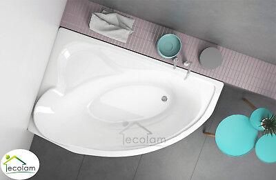 Badewanne Eckbadewanne Wanne Acryl 166x107 cm Füße Ablaufgarnitur Silikon links