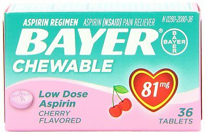Bayer Chewable Low Dose Baby Aspirin Cherry 81 Mg 36-Count (Pack of 3) for sale  Nanuet