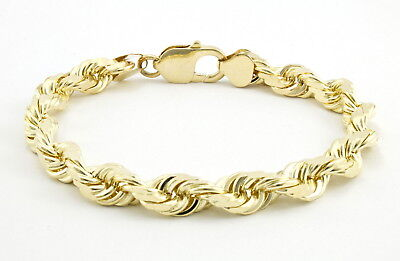 Real 10k Yellow Gold 7mm Italy Diamond Cut Rope Chain Bracelet Lobster Clasp 8""